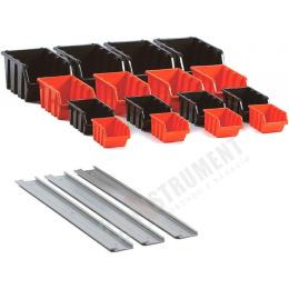 sada úložných boxov s lištami na stenu NPST16 / držiak