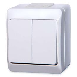 vypínač na povrch biely 5 sériový 250 V 5332-02 / dvojvypínač