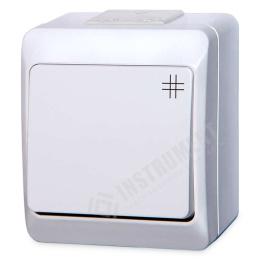 vypínač na povrch biely 7 krížový 250 V 5338-02