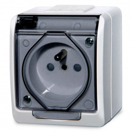 zásuvka na povrch biela 250 V 5321-01 s transparentnou krytkou