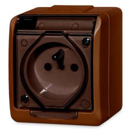 zásuvka na povrch hnedá 250 V 5321-05 s transparentnou krytkou