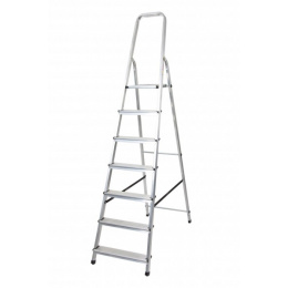 rebrík AL 7 jednostranný s madlom / schodíky 1 x 7