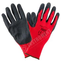 rukavice pracovné Polyester-čierny latex veľ.9