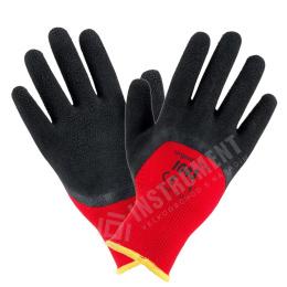 rukavice pracovné Polyester-pieskový latex veľ.10